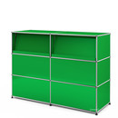 USM Haller Counter Type 2 (with Angled Shelves), USM green, 150 cm (2 elements), 50 cm