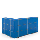 USM Haller Counter Type 4, Gentian blue RAL 5010, Corner closed