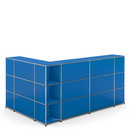 USM Haller Counter Type 4, Gentian blue RAL 5010, Corner open