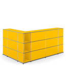USM Haller Counter Type 4, Golden yellow RAL 1004, Corner open