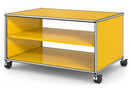 USM Haller TV Lowboard with Castors, Without drop-down door, without rear panel, Golden yellow RAL 1004
