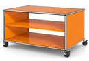 USM Haller TV Lowboard with Castors, Without drop-down door, without rear panel, Pure orange RAL 2004