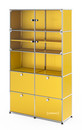 USM Haller Vitrine, H 179 x W 103 x D 38 cm, Golden yellow RAL 1004, All compartments with a lock