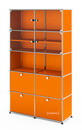 USM Haller Vitrine, H 179 x W 103 x D 38 cm, Pure orange RAL 2004, All compartments with a lock
