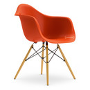 Eames Plastic Armchair DAW, Red (poppy red), Without upholstery, Without upholstery, Standard version - new (43 cm), Yellowish maple