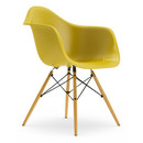 Eames Plastic Armchair DAW, Mustard, Without upholstery, Without upholstery, Standard version - new (43 cm), Yellowish maple