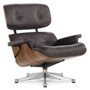Lounge Chair, Walnut with black pigmentation, Leather Premium F chocolate, 84 cm - Original height 1956, Aluminium chrome-plated