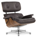 Lounge Chair, Walnut with black pigmentation, Leather Premium F chocolate, 84 cm - Original height 1956, Aluminium polished