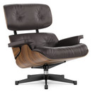 Lounge Chair, Walnut with black pigmentation, Leather premium chocolate, 89 cm, Aluminium polished, sides black