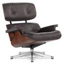 Lounge Chair, Santos Palisander, Leather Premium F chocolate, 84 cm - Original height 1956, Aluminium chrome-plated