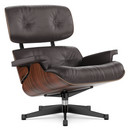 Lounge Chair, Santos Palisander, Leather premium chocolate, 84 cm - Original height 1956, Aluminium polished, sides black