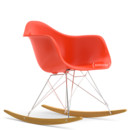 Eames Plastic Armchair RAR, Red - poppy red (new height), Chrome-plated, Yellowish maple