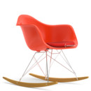 RAR with Upholstery, Red (poppy red), With seat upholstery, Coral / poppy red , Without border welting, Chrome/yellowish maple
