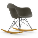 Eames Plastic Armchair RAR, Basalt grey (new height), Coated basic dark, Yellowish maple