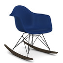 Eames Plastic Armchair RAR, Navy blue (new height), Coated basic dark, Dark maple