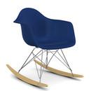 Eames Plastic Armchair RAR, Navy blue, Chrome-plated, Yellowish maple
