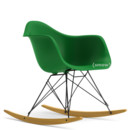Eames Plastic Armchair RAR, Green (new height), Coated basic dark, Yellowish maple