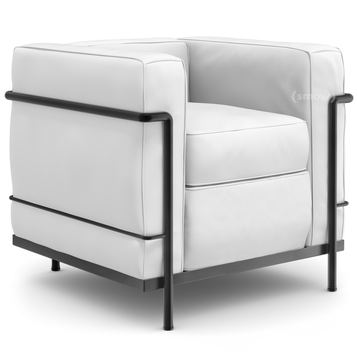 cassina lc2 armchair matt black lacqured leather lcx white by