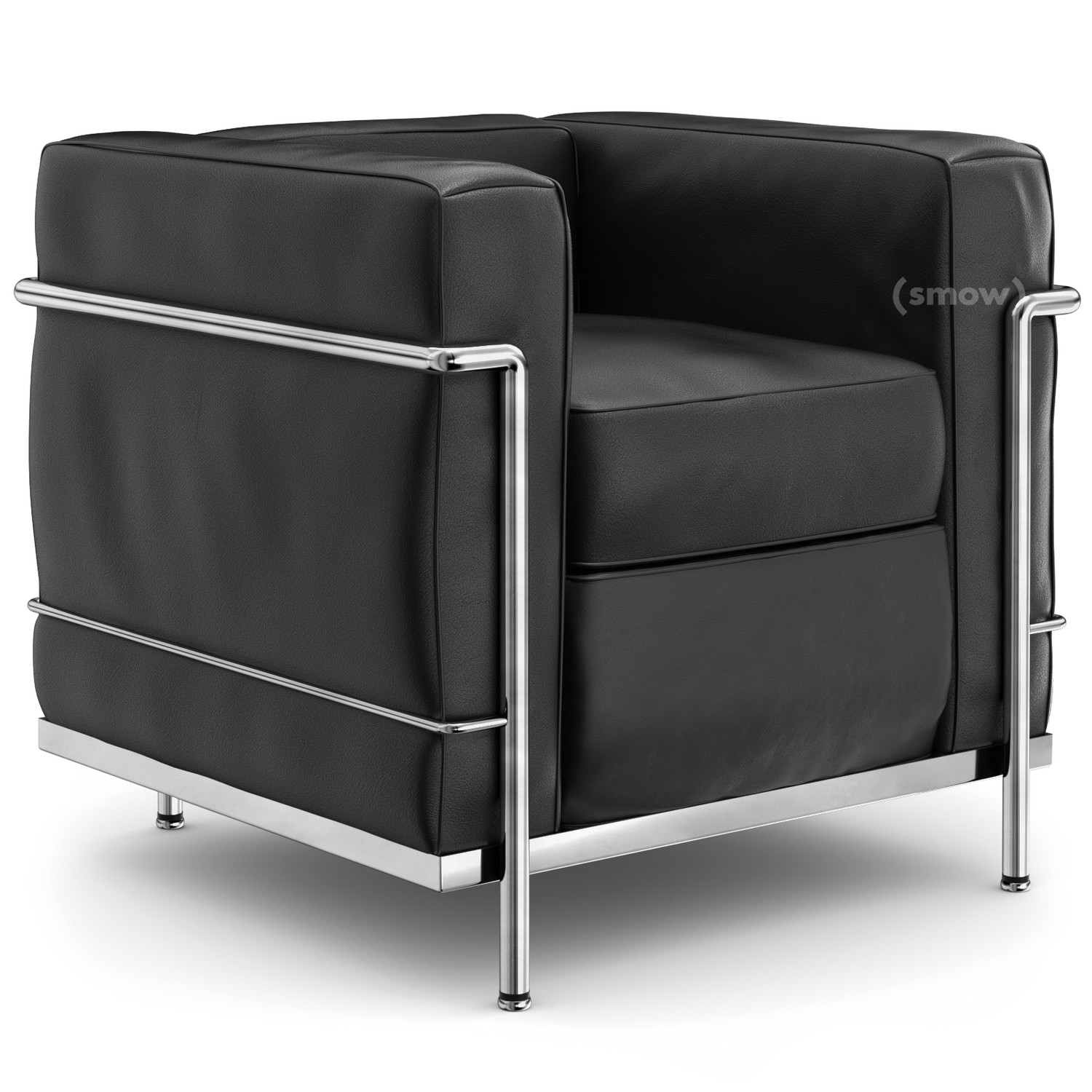 cassina lc2 armchair chrome plated leather scozia black by le corbusier pierre jeanneret. Black Bedroom Furniture Sets. Home Design Ideas