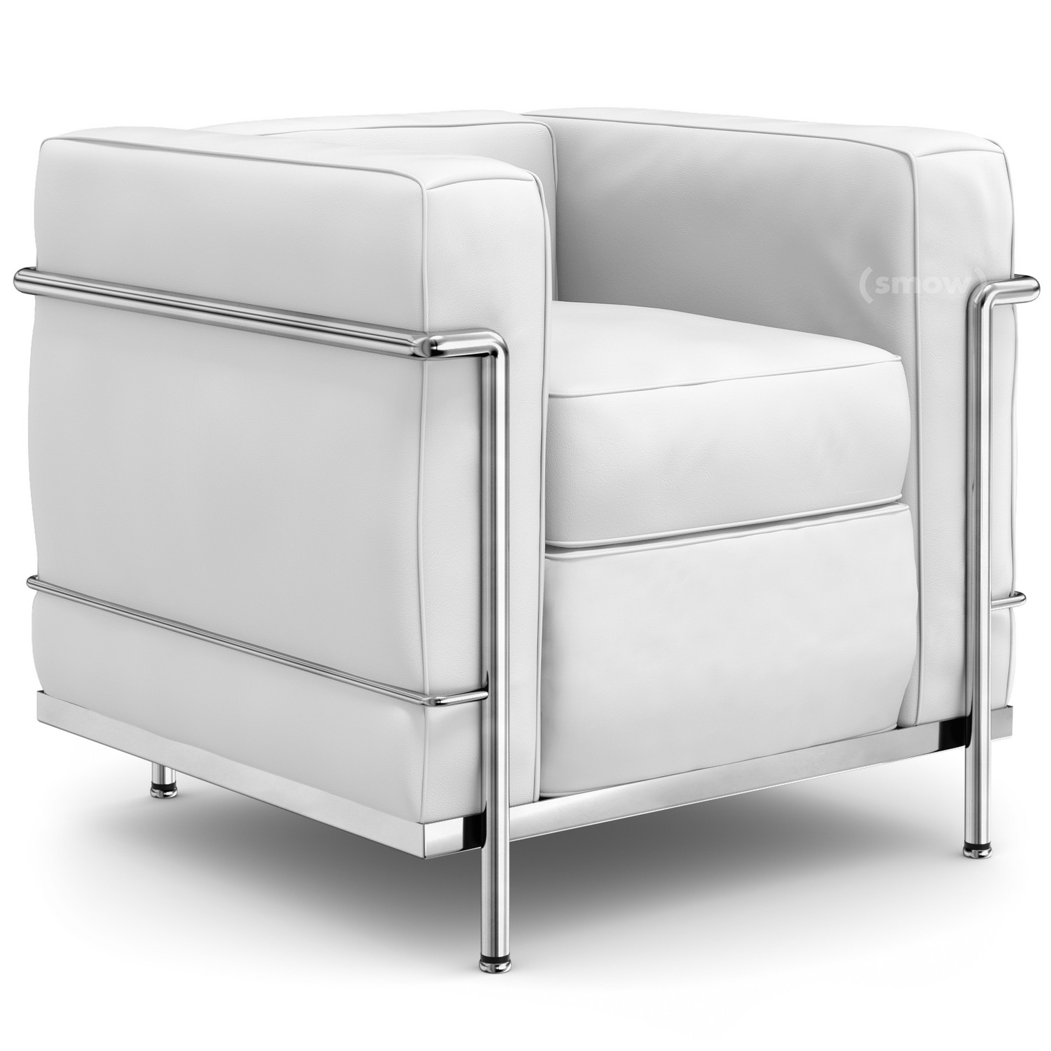 LC2 Armchair Chrome Plated|Leather Scozia|White