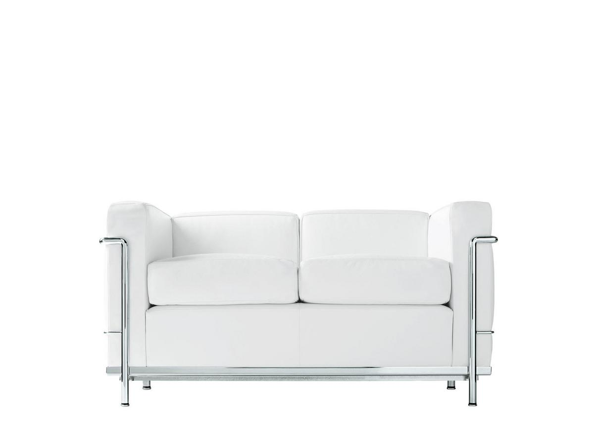 LC2 Sofa Two Seater|Chrome Plated|Leather LCX|White