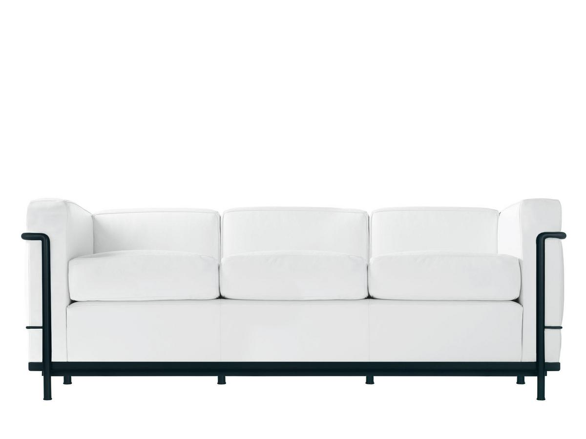 LC2 Sofa Three Seater|Matt Black Lacqured|Leather Scozia|White