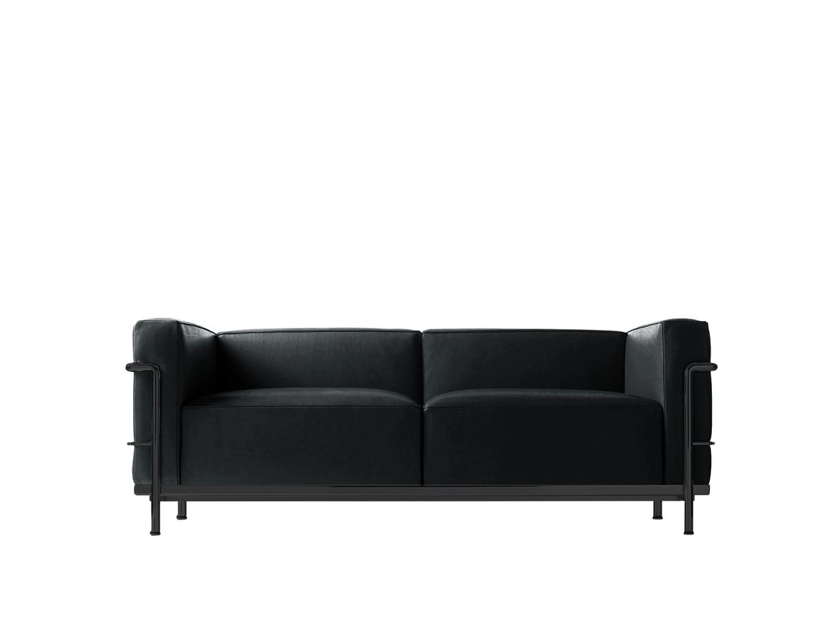 cassina lc3 sofa two seater matt black lacqured leather. Black Bedroom Furniture Sets. Home Design Ideas