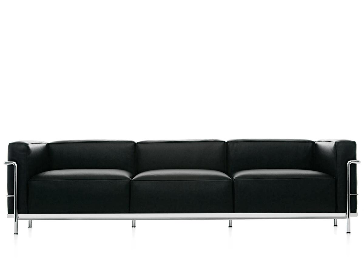 cassina lc3 sofa three seater chrome plated leather scozia black by le corbusier pierre. Black Bedroom Furniture Sets. Home Design Ideas