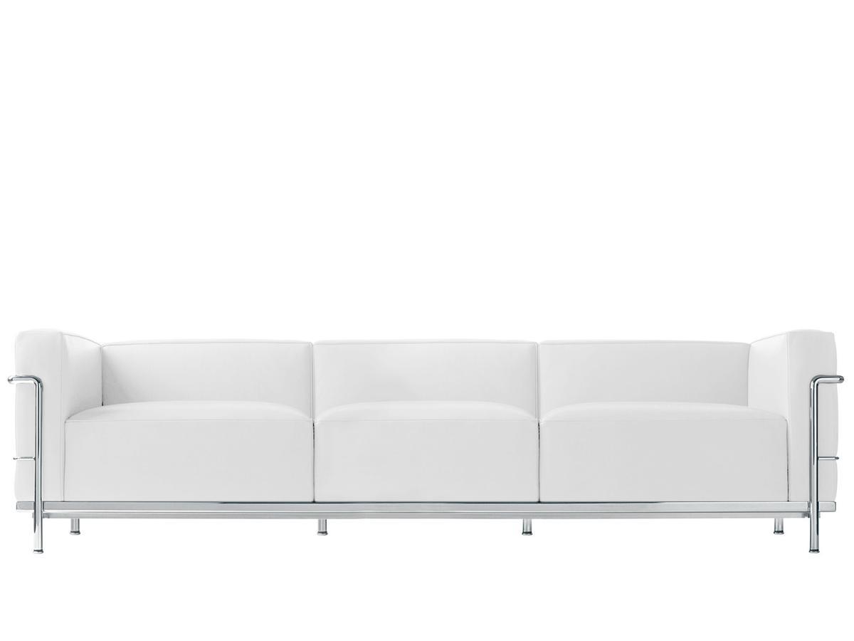 LC3 Sofa Three Seater|Chrome Plated|Leather Scozia|White