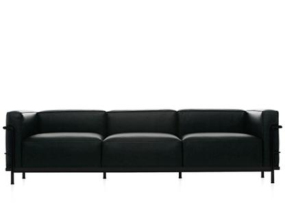 LC3 Sofa Three-seater|Matt black lacqured|Leather Scozia|Black