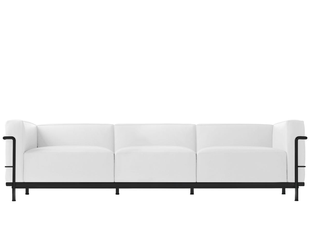 Lc3 Sofa Three Seater Matt Black Lacqured Leather Scozia White