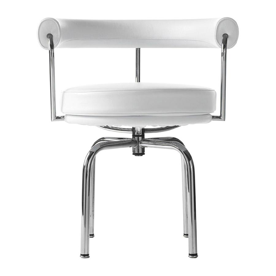 LC7 Swivel Chair Chrome Plated|Leather Scozia|White