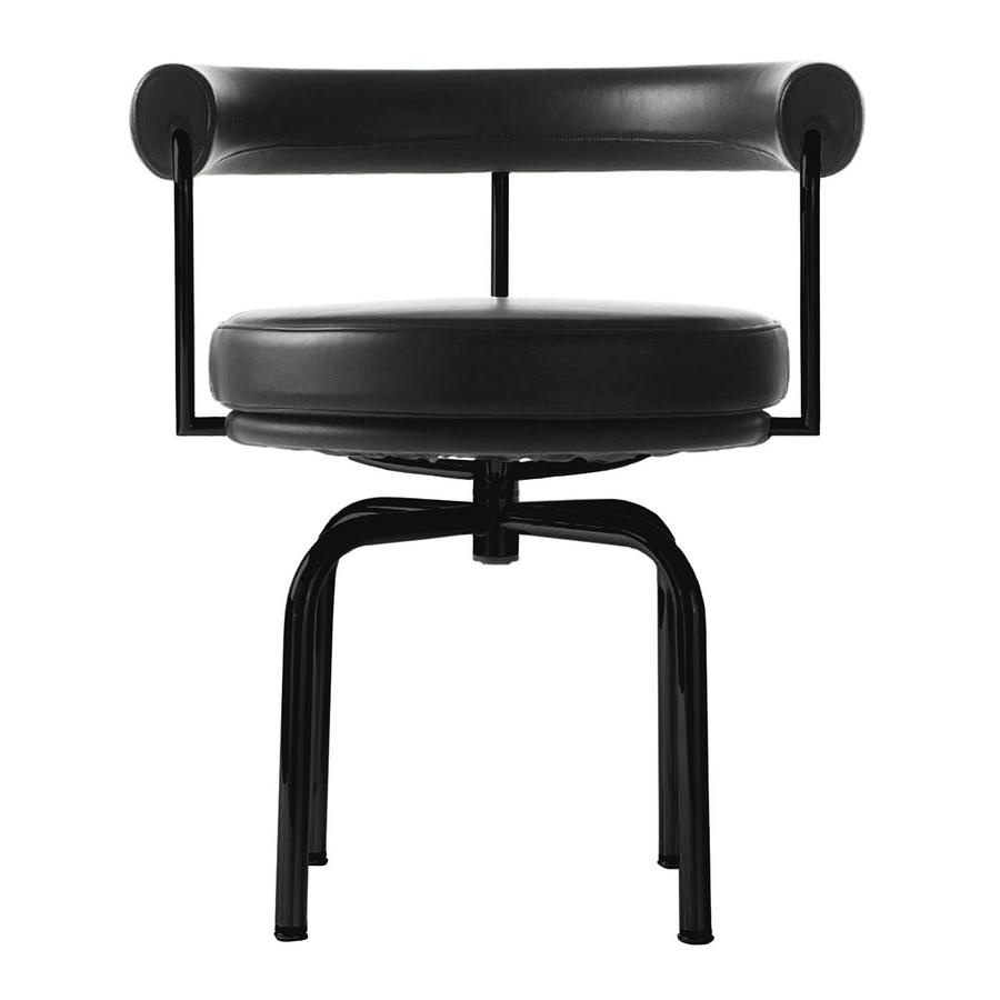 Cassina LC7 Swivel Chair, Matt black lacqured, Leather Scozia, Black ...