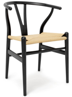 Superb CH24 Wishbone Chair Black Lacquered Oak|Nature Mesh