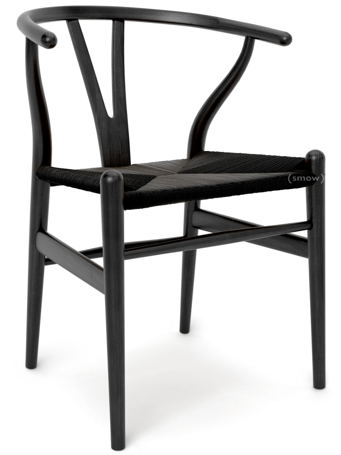 CH24 Wishbone Chair Black Lacquered Oak|Black Mesh