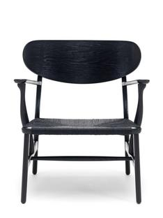 CH22 Lounge Chair Black lacquered oak, black paper yarn