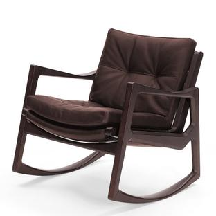 Euvira Rocking Chair Soft Brown stained oak|Classic leather chocolate