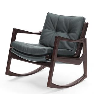 Euvira Rocking Chair Soft Brown stained oak|Classic leather grey