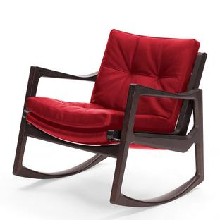 Euvira Rocking Chair Soft Brown stained oak|Classic leather red
