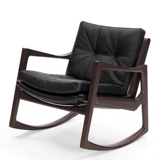 Euvira Rocking Chair Soft Brown stained oak|Classic leather black