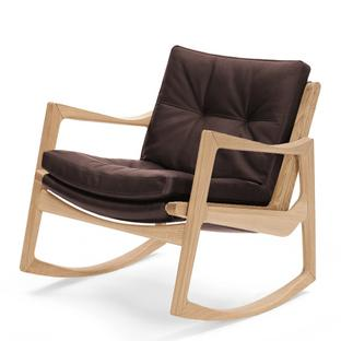 Euvira Rocking Chair Soft Oak|Classic leather chocolate