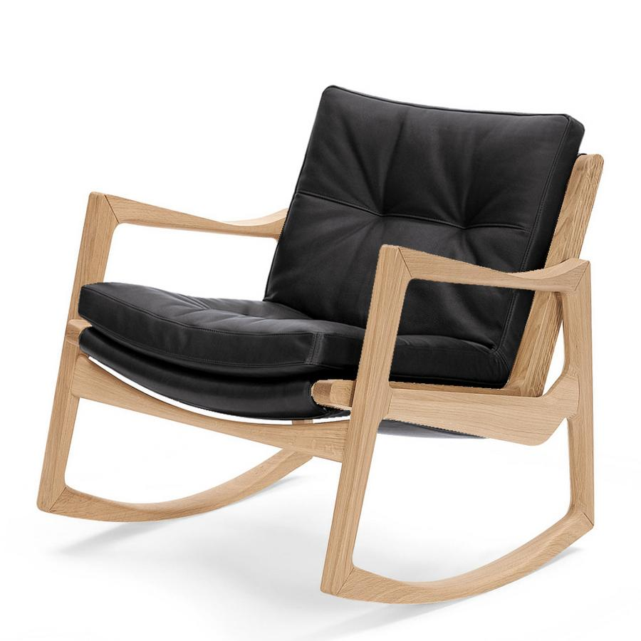 classicon euvira rocking chair soft, oak, classic leather black by