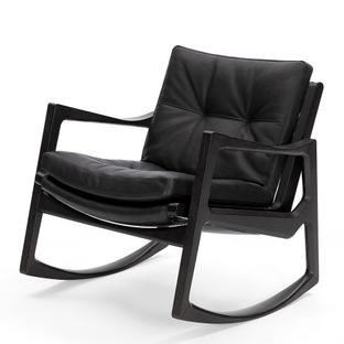 Euvira Rocking Chair Soft Black stained oak|Classic leather black