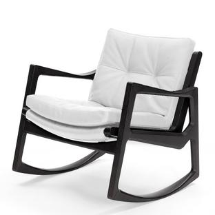 Euvira Rocking Chair Soft Black stained oak|Classic leather white