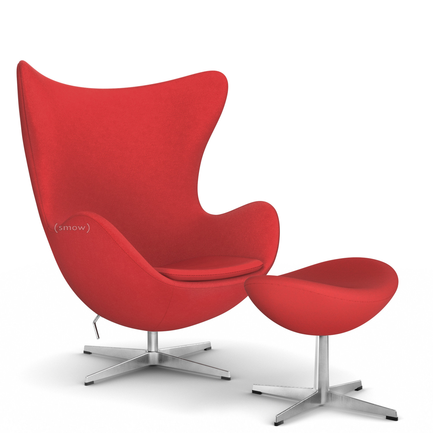 Fritz Hansen Egg Chair Divina Divina 623 Red With Footstool By Arne Jacobsen 1958 Designer Furniture By Smow Com