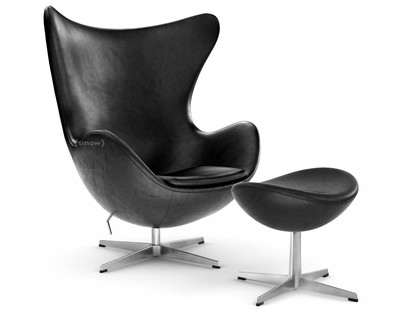Egg Chair Van Arne Jacobsen.Fritz Hansen Egg Chair Leather Grace Black With Footstool By
