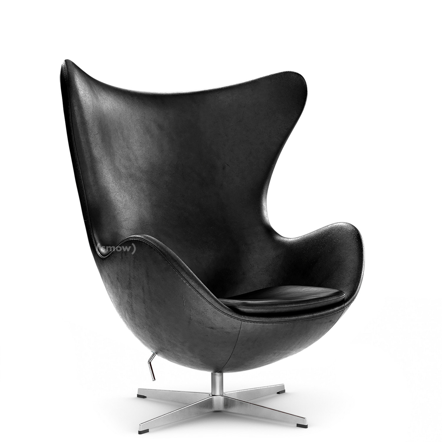 Egg Chair Elegance Leather|Black|Without Footstool