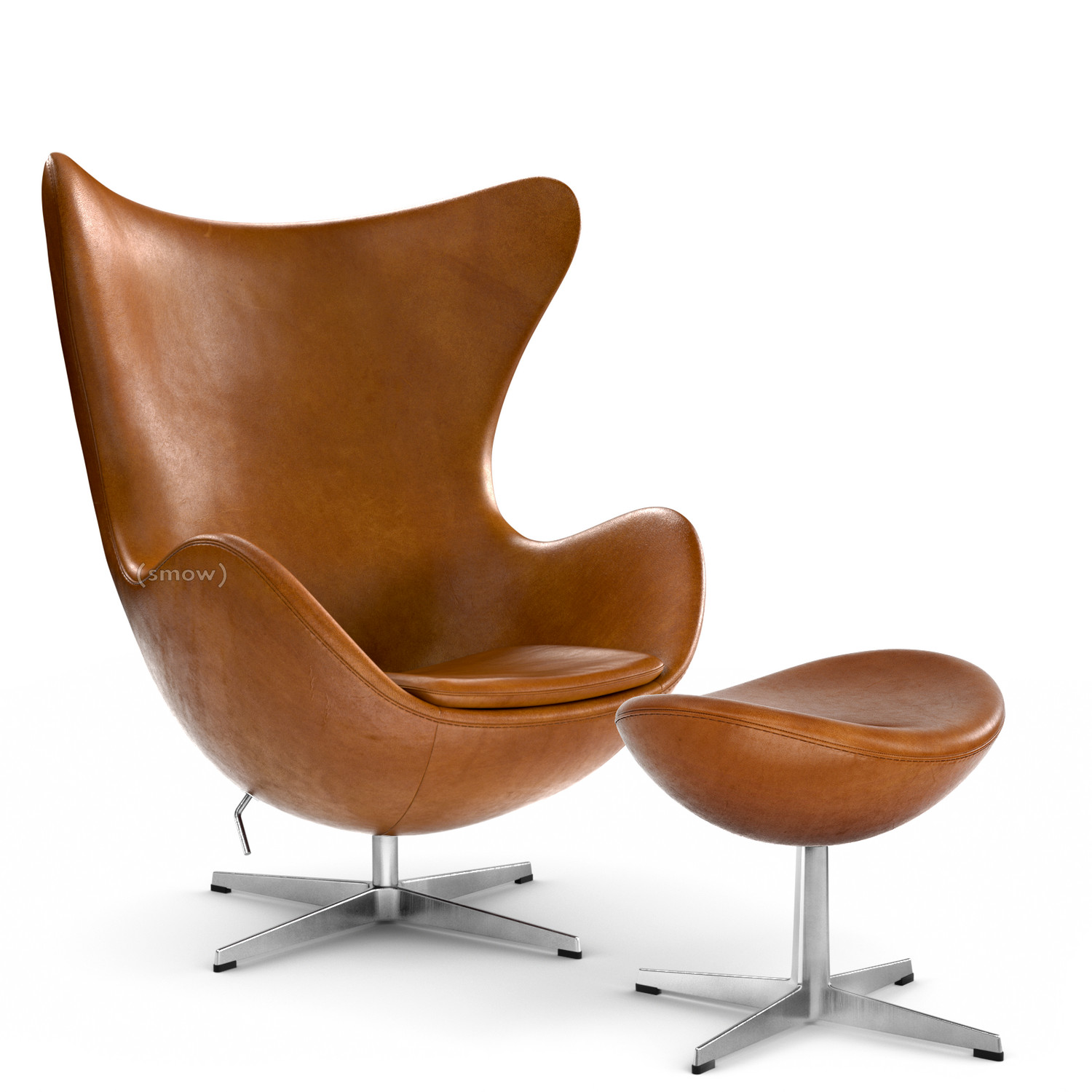 Attraktiv Egg Chair Elegance Leather|Walnut|With Footstool
