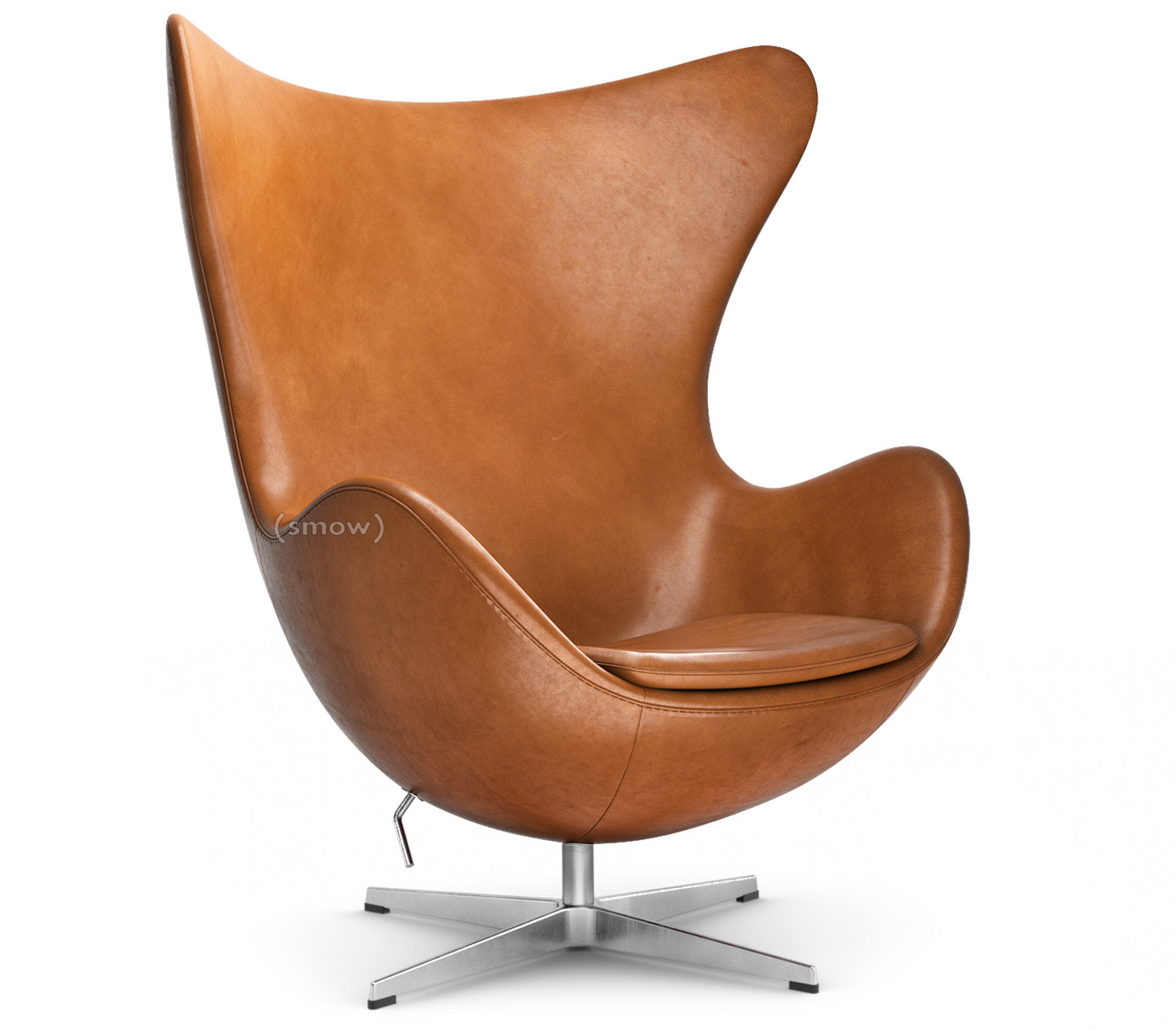 Egg Chair Elegance Leather|Walnut|Without Footstool
