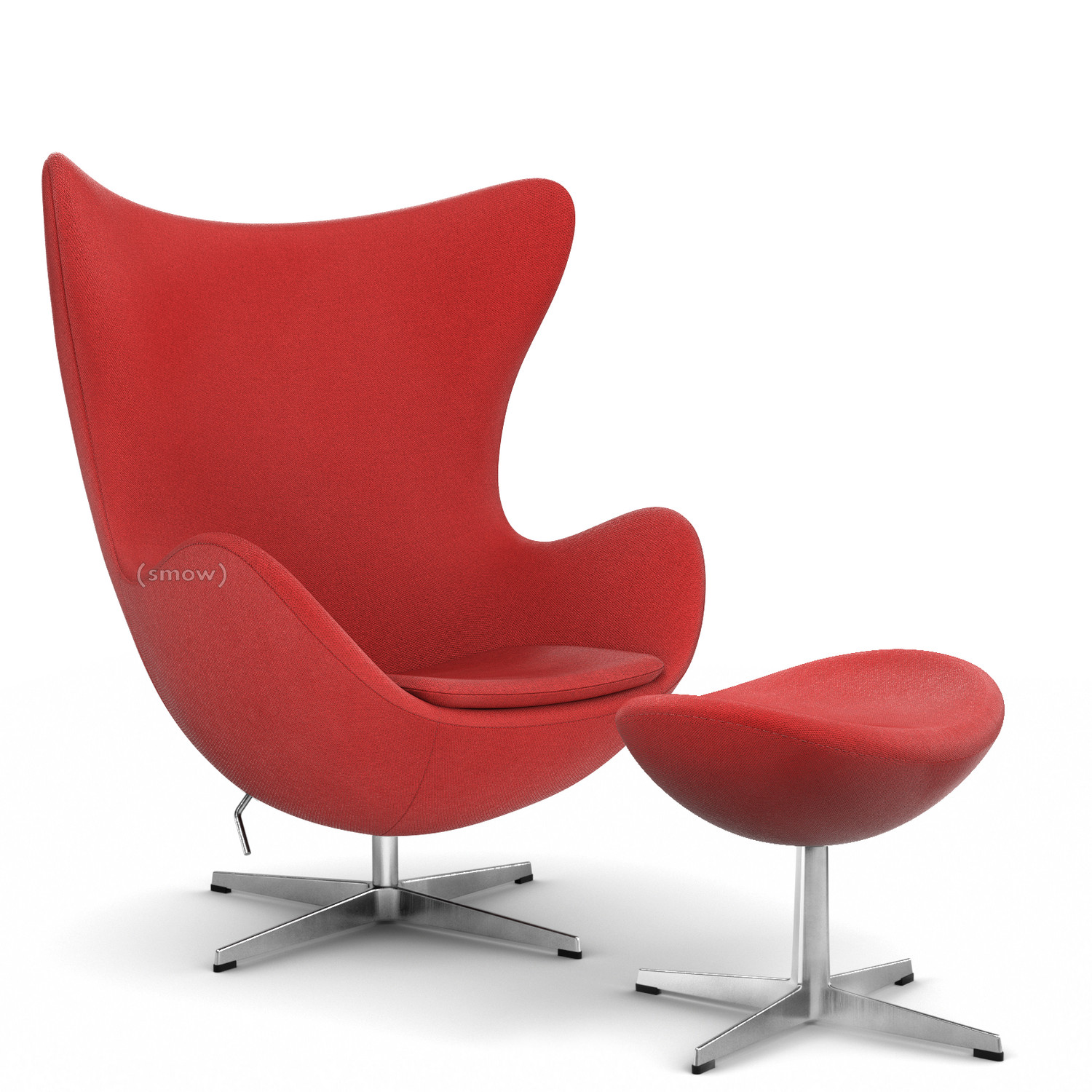 Fritz Hansen Egg Chair Hallingdal 65 674 Red With Footstool By